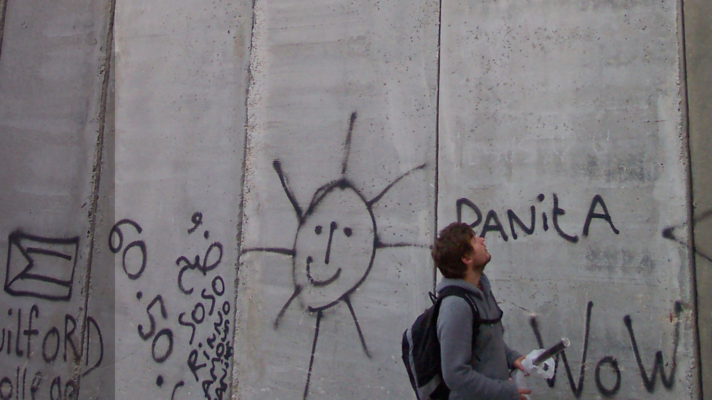 Rüdiger an der Mauer in Bethlehem, Palästina, 2008