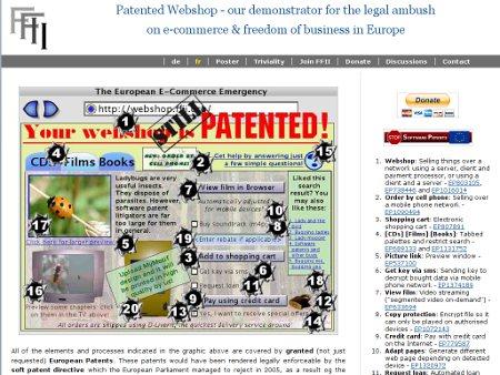 webshop.ffii.org mit Hinweisen auf Softwarepatente