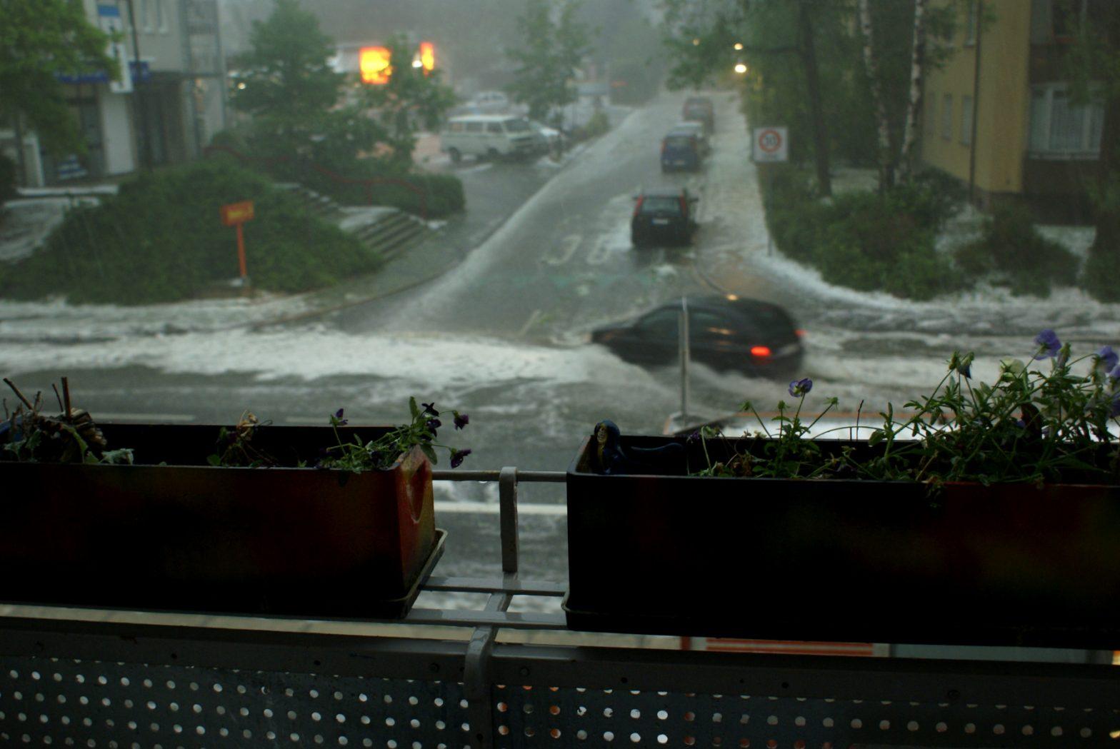 Hagel, Sintflut-Regen, Mai 2009 Konstanz