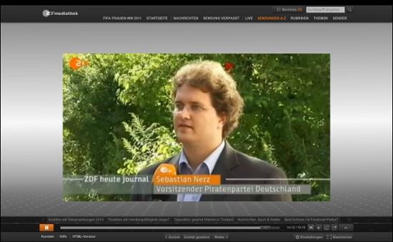 Sebastian Nerz Bundesvorsitzender der Piratenpartei im heute-journal