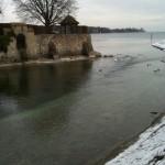 Stadtgarten Blick auf den See bei Schnee Konstanz Bodensee