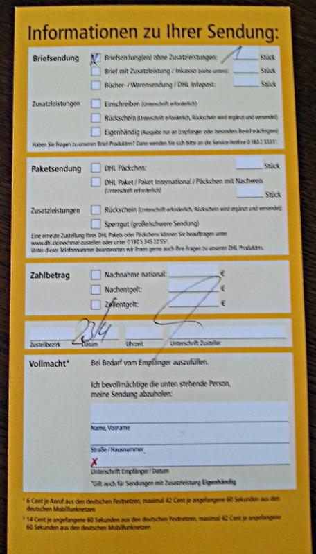 Benachrichtigung Zur Abholung Paket Als Briefsendung Uteles Blog