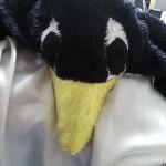 Plüschkostüm Pinguin Kopf mit Augen und Schnabel