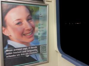 """Coole IT-Werbung auf der Fähre Konstanz- Meersburg: """"Wenn jemand sagt, IT-Berufe seien trocken und langweilig, schenke ich ihm ein Lächeln."""""""