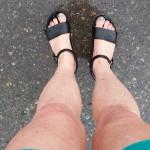 Gewitterregen und nasse Schuhe