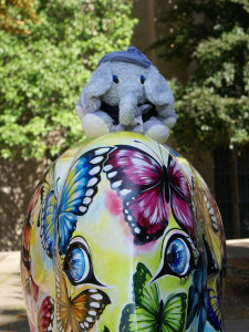 utele, frido und ein Elefanten bei der Elefantenparade Trier-Luxemburg
