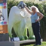 Ute, utele, frido und Elefant in Luxemburg bei der Elefantenparade Trier-Luxemburg