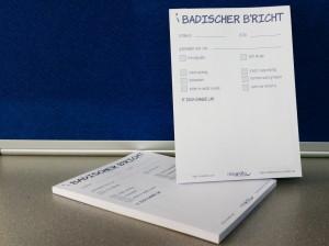 Telefonnotizblock - DIN A6 - Postkartenformat mit 50 Blatt: Badischer B'richt - s'isch gange um...