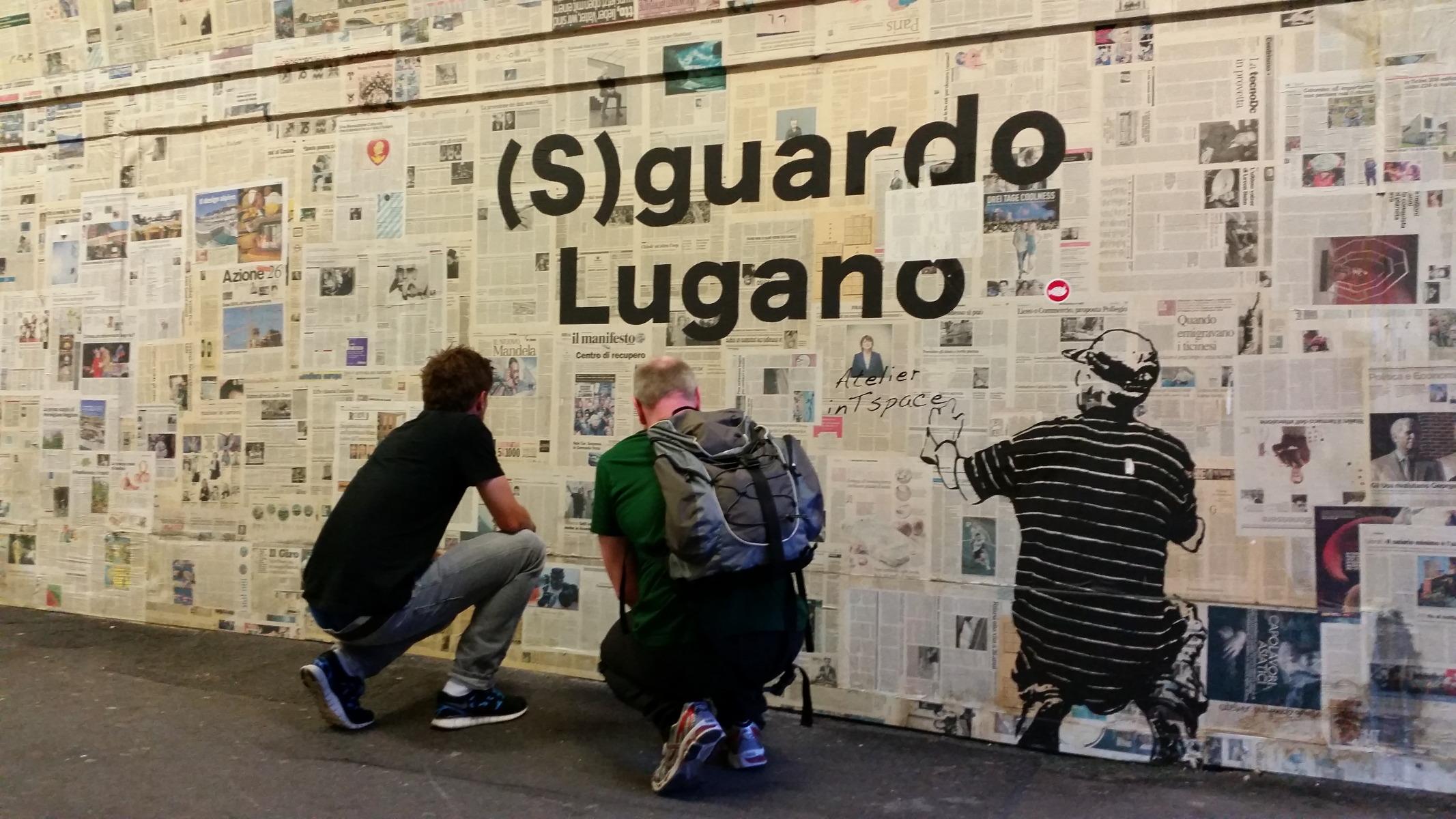 (S) guardo Lugano Zeitungsunterführung Rüdiger, Roland und Graffiti - sottopassaggio pedonale di Besso a Lugano
