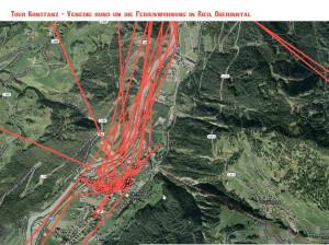 Satellitenansicht Karte Tour Konstanz - Venedig