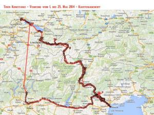 Karte Tour Konstanz - Venedig