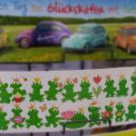 Geburtstagskarte mit Fröschen und Happy Birthday