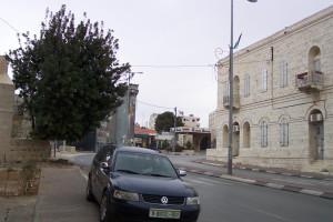 Die Mauer in Bethlehem, Palästina, beginnt mitten im Ort