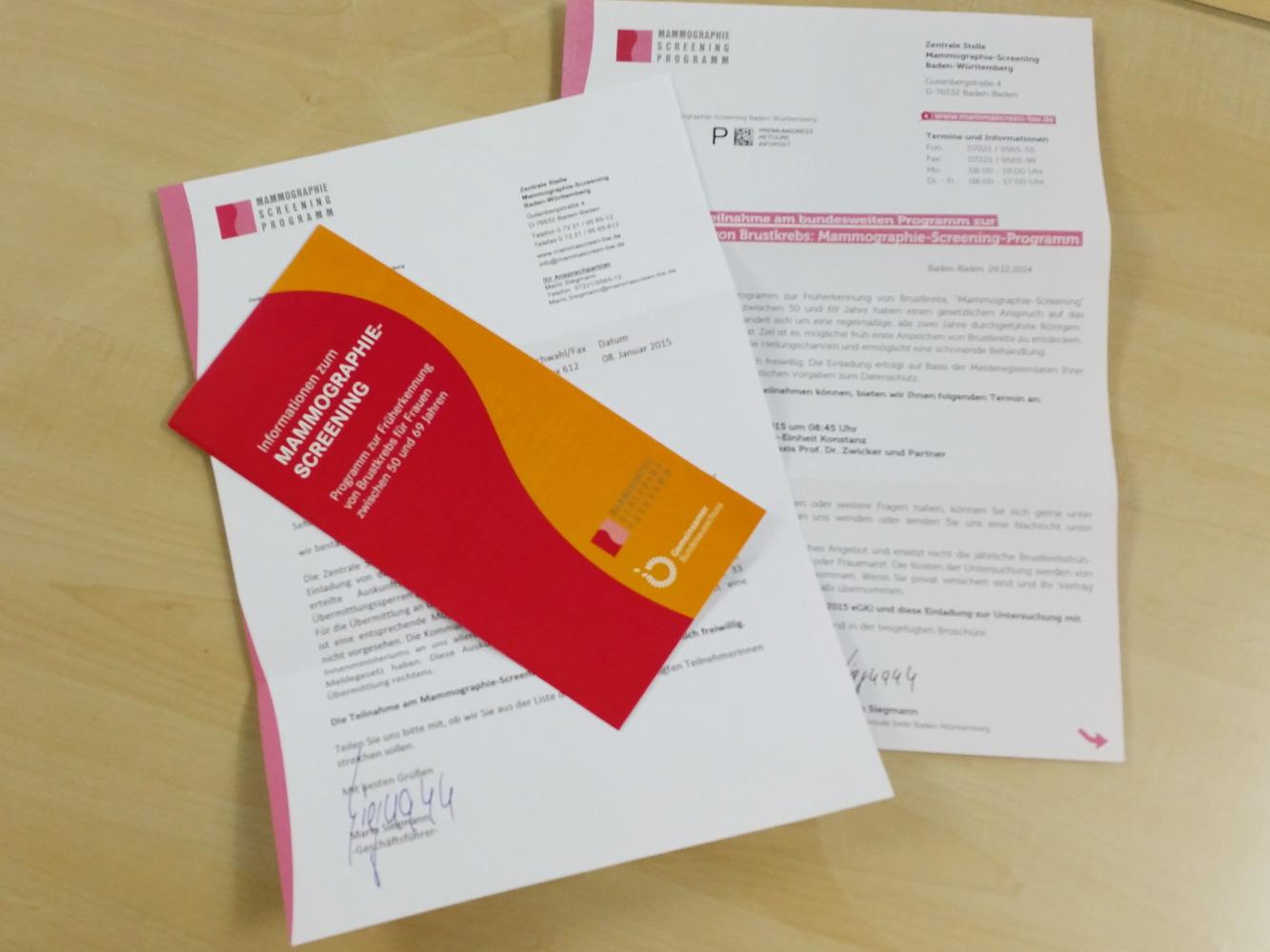Mammographie-Screening-Einladungen und Flyer nach Melderegister