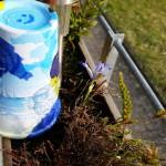 Basteln dieses Mal für den Friedhof - Serviettentechnik mit bemalen auf einem Blumentopf kombiniert