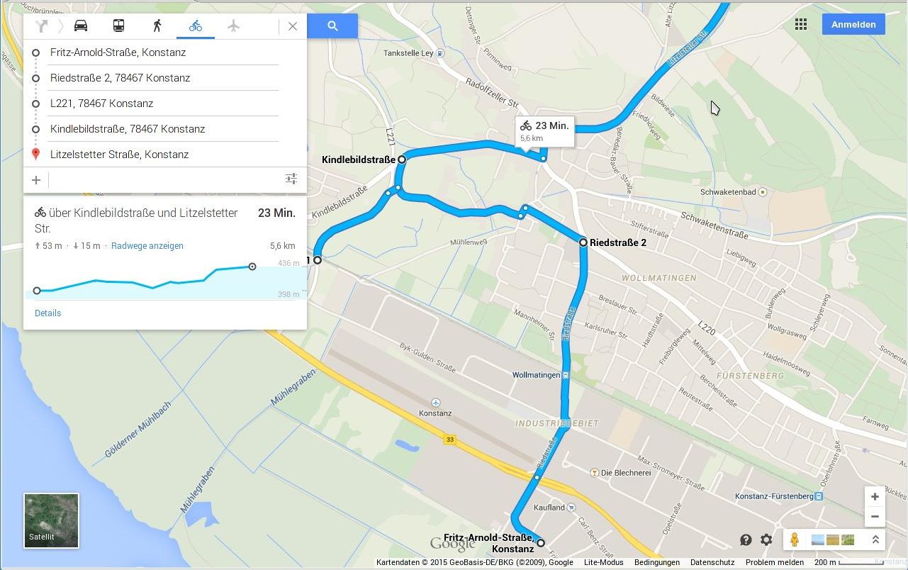 Berchengebiet Konstanz mit Fahrradroute bei Googlemaps und Höhenangabe