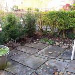 vorher die Ecke noch ohne Frosch - Gartendeko Reifenfrosch bepflanzt
