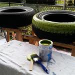 nur drüber malen dann ist nichts im Profil - Gartendeko Reifenfrosch bepflanzt