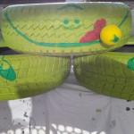 Reifen malen und dekorieren - Gartendeko Reifenfrosch bepflanzt