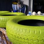 Reifen bemalt... - Gartendeko Reifenfrosch bepflanzt