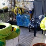 malen der Reifen - Gartendeko Reifenfrosch bepflanzt