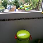 Blick aus der Küche auf den Frosch - Gartendeko Reifenfrosch bepflanzt