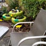 Hingucker bepflanzter Reifenfrosch - Gartendeko Reifenfrosch bepflanzt