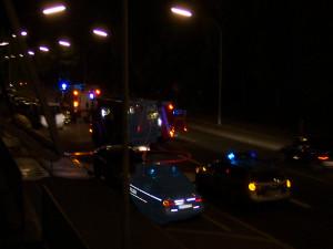 Feuerwehreinsatz mit Polizei nachts in Konstanz, Symbolbild