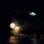 Seenachtsfest am Rhein Feuerwerk 2014 mit Mond