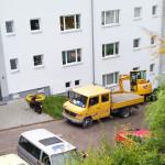10/2014 Immernoch einige Baustellen auch nach Einzug der Mieter, nach Sanierung des ehemaligen Studiwohnheims, Wollmatinger Straße, Bundesimmobilie, Konstanz