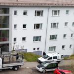 1/2015 Immernoch einige Baustellen auch nach Einzug der Mieter, nach Sanierung des ehemaligen Studiwohnheims, Wollmatinger Straße, Bundesimmobilie, Konstanz