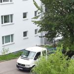 9/2013 Immernoch einige Baustellen auch nach Einzug der Mieter, nach Sanierung des ehemaligen Studiwohnheims, Wollmatinger Straße, Bundesimmobilie, Konstanz