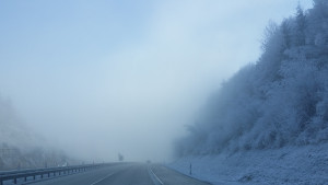 Rückweg teils mit Nebel nach der Silvesterparty in der Rockfabrik Ludwigsburg zu Metal und Gothic