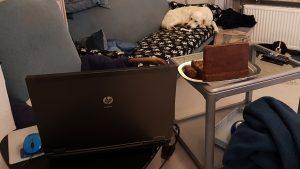 Laptop und Laptop, eins essbar, kalter Hund, Keks bauen