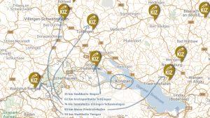 Ausschnitt und Entfernungen Konstanz und die Kreisimpfzentren Baden-Württemberg Karte https://www.baden-wuerttemberg.de/de/service/aktuelle-infos-zu-corona/fragen-und-antworten-rund-um-corona/faq-impfzentren/